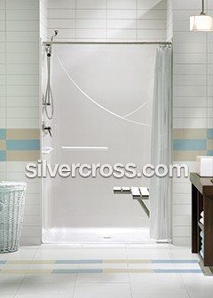 Roll-in Showers: General Information | Silver Cross® on home depot handicap shower, mobile homes with garages, modular home disabled shower, mobile home shower pan, mobile home shower tile, mobile home shower stalls, industrial handicap shower, handicap shower rails for outside the shower,